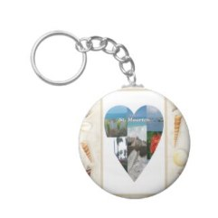 I Love St. Maarten Shells Heart Keychain