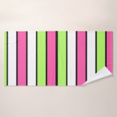 Hot Pink, Lime Green, Black and White Stripes Bath Towels